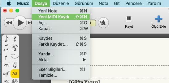 MIDI Kayıt penceresi açmak için, Dosya menüsünden Yeni MIDI Kaydı seçeneğine tıklayın.