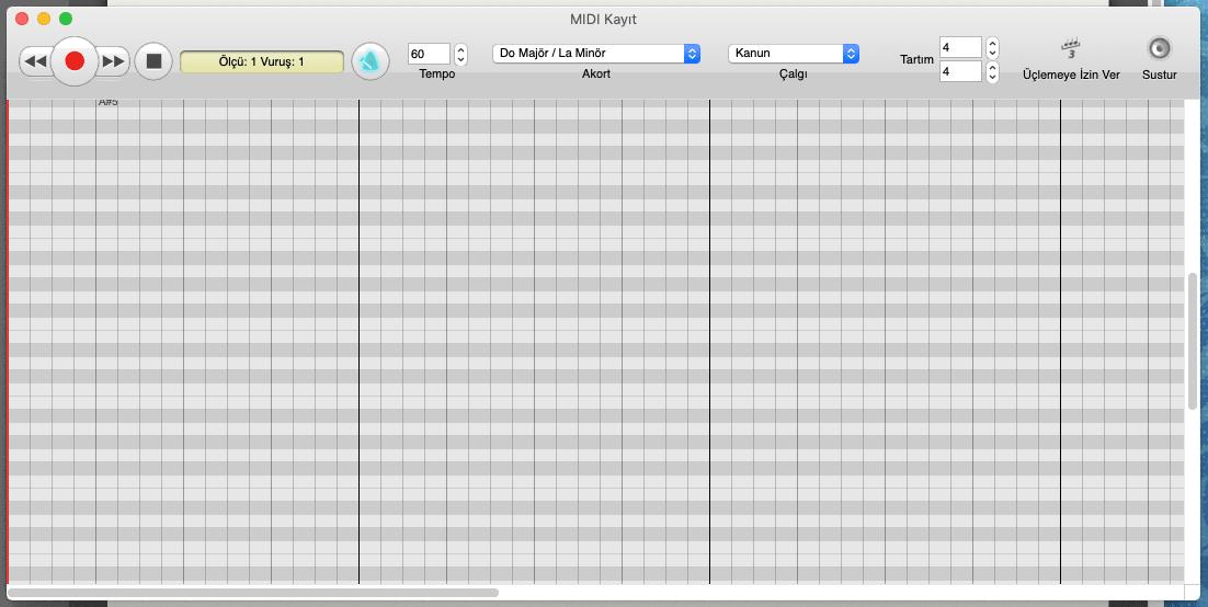 MIDI Kayıt penceresi, araç çubuğundan ve piyano şeridi görünümündeki çalışma alanından oluşur.