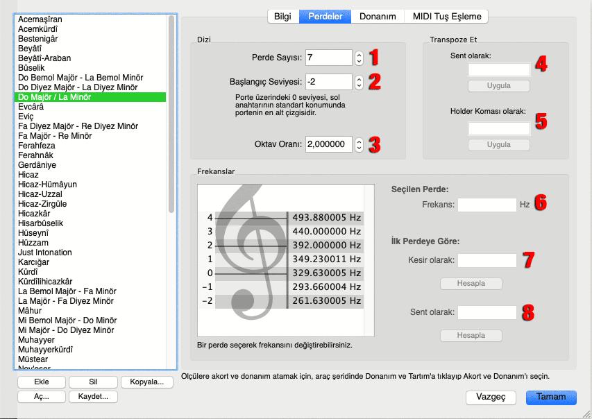 Mus2 akort ekranın perdeler sekmesi ve bölümleri