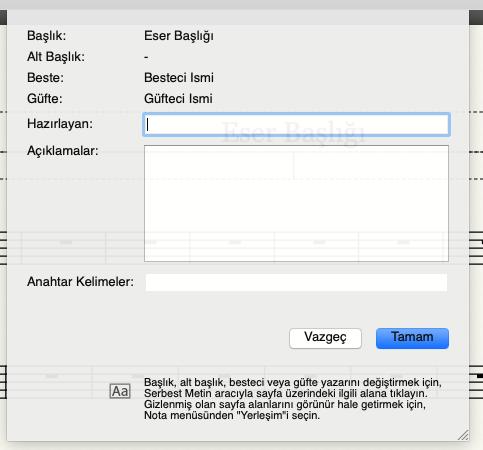 Mus 2 eser bilgileri düzenleme ekranında notanın hazırlanmasına ve kataloglanmasına ilişkin ek bilgileri görebilir ve değiştirebilirsiniz