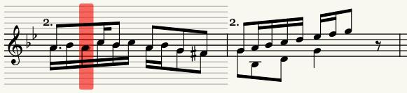 Mus2'de, notanın kaçıncı ses kullanılarak porteye yerleştirildiğini gösteren kırmızı çubuk.