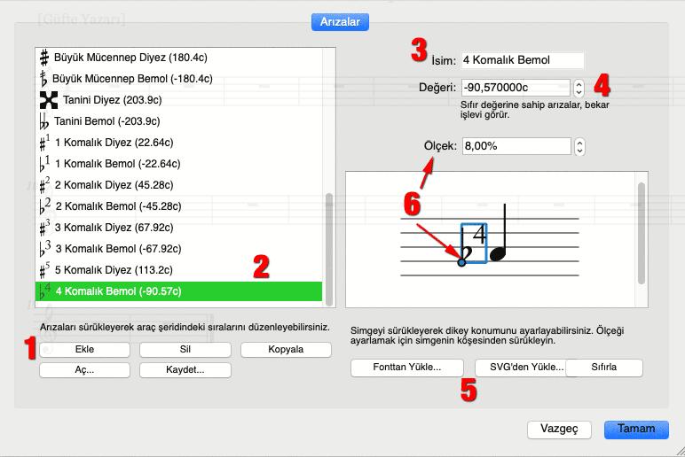 Mus2'de simgeler, Simgeler penceresinin sol bölümünde listelenir.