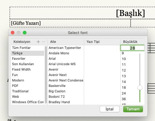 Mus2 yazı tipini değiştirme penceresi