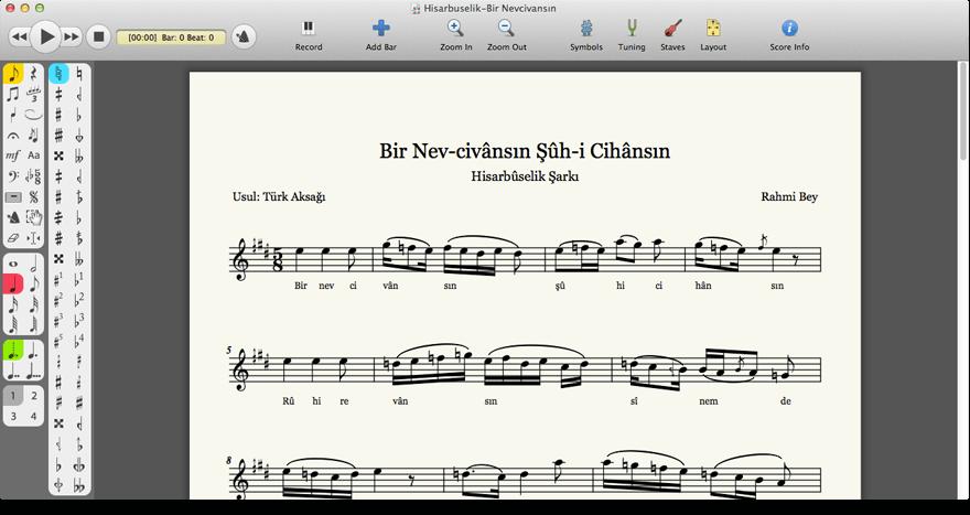 Mus2 - Bir Nev civansın notation