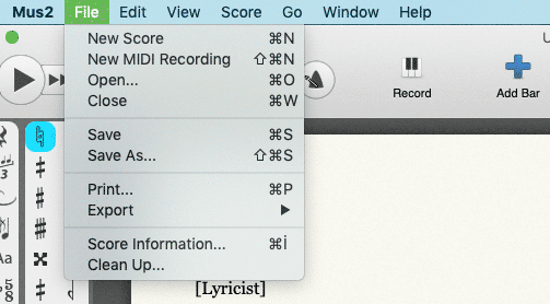 Mus2 File Operations Menu. New, Open, Close, Save As, Print, Export, Score Information, Clean Up and Quit options.