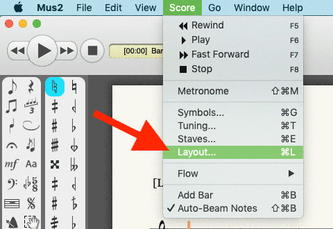 Select the Layout command from the Score menu.