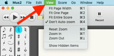 You can find the options that govern the size and appearance of the score paper in the View menu.
